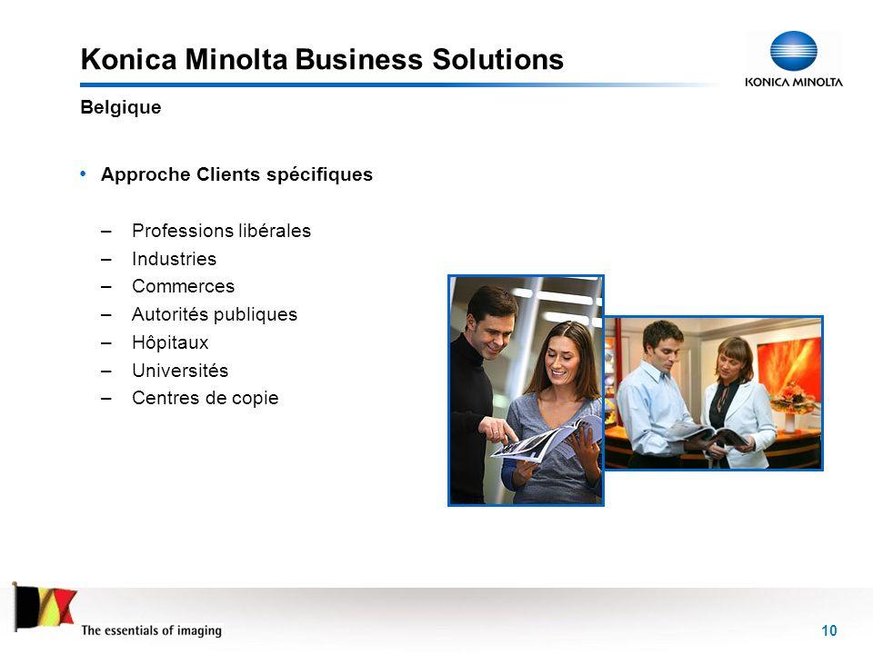 10 Konica Minolta Business Solutions Approche Clients spécifiques – Professions libérales – Industries – Commerces – Autorités publiques – Hôpitaux –