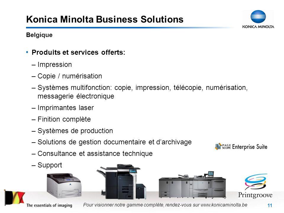 11 Konica Minolta Business Solutions Produits et services offerts: –Impression –Copie / numérisation –Systèmes multifonction: copie, impression, téléc