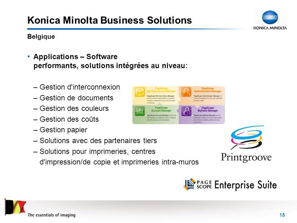 15 Konica Minolta Business Solutions Applications – Software performants, solutions intégrées au niveau: –Gestion d'interconnexion –Gestion de documen