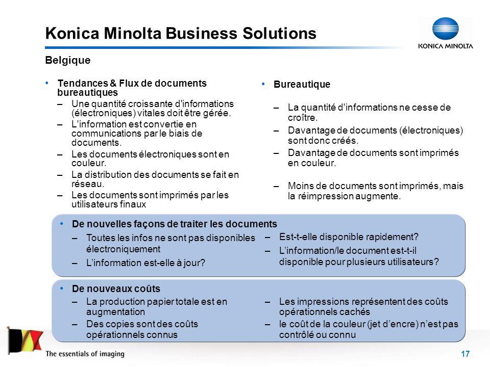 17 Konica Minolta Business Solutions Tendances & Flux de documents bureautiques –Une quantité croissante d'informations (électroniques) vitales doit ê