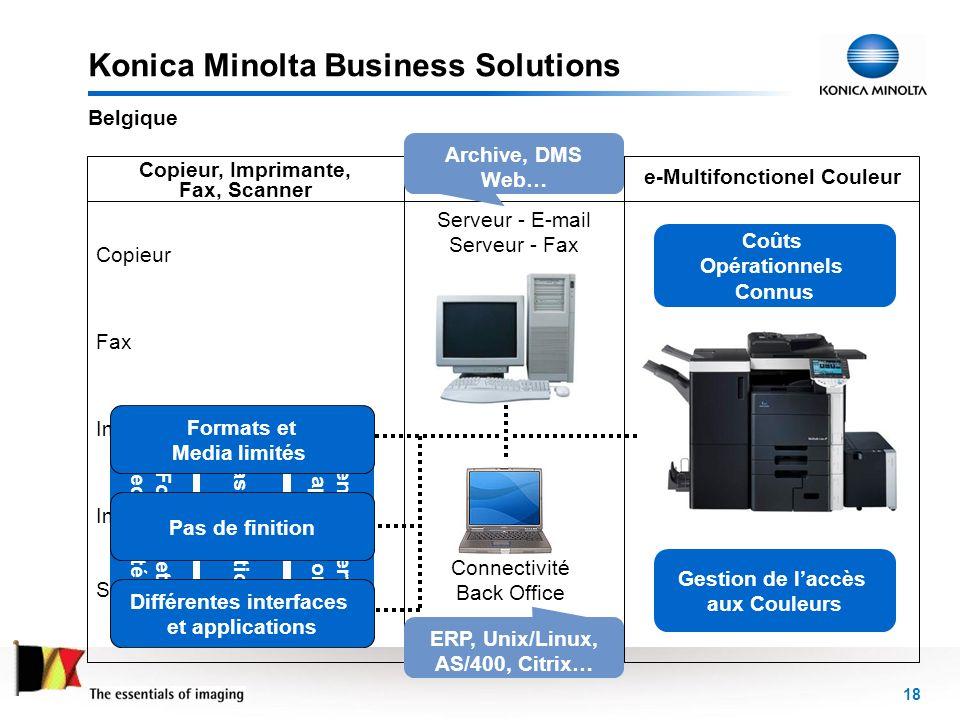 18 Konica Minolta Business Solutions Belgique Reseau Copieur, Imprimante, Fax, Scanner e-Multifonctionel Couleur Copieur Fax Imprimante Noir & Blanc I