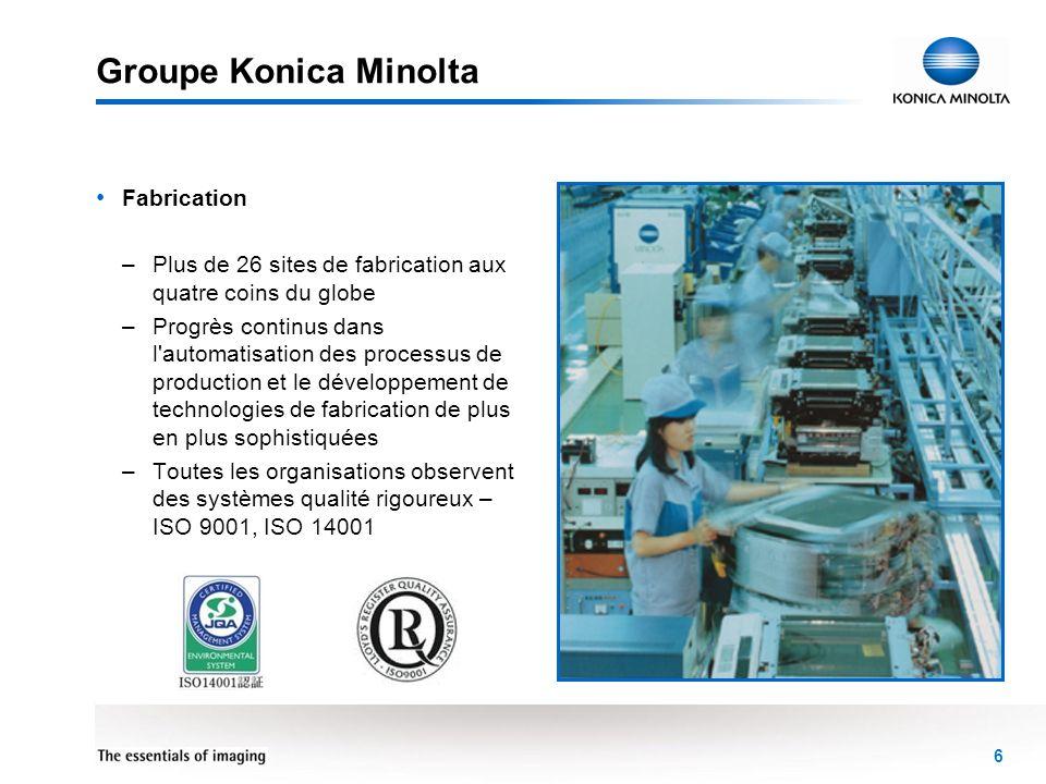 6 Groupe Konica Minolta Fabrication –Plus de 26 sites de fabrication aux quatre coins du globe –Progrès continus dans l'automatisation des processus d