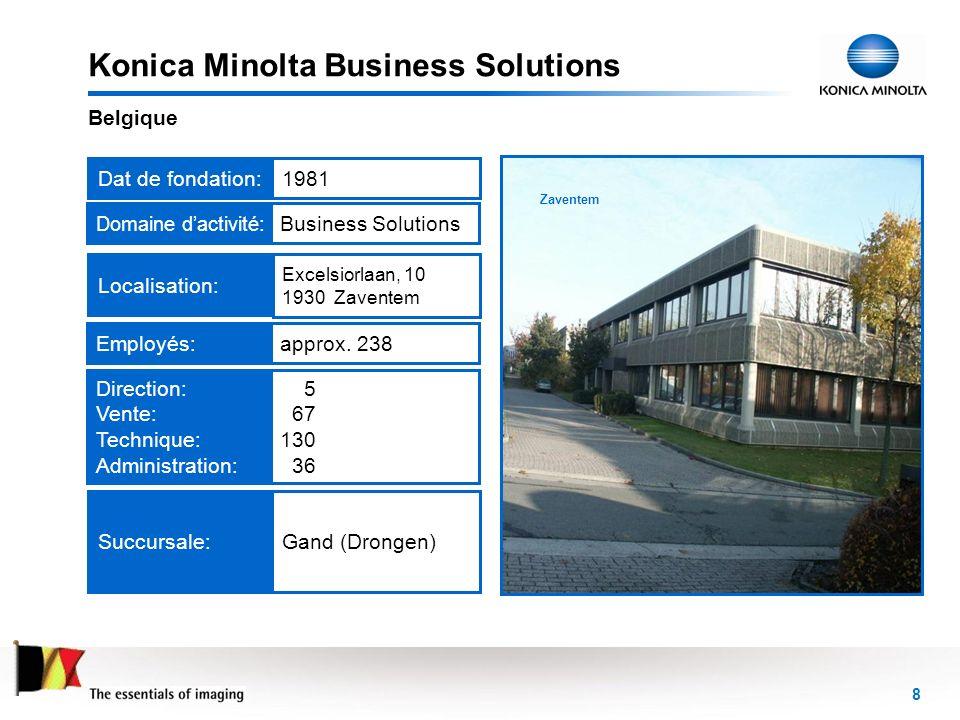 8 Zaventem Konica Minolta Business Solutions Belgique Dat de fondation:1981Employés:approx. 238 Domaine dactivité :Business Solutions Succursale:Gand