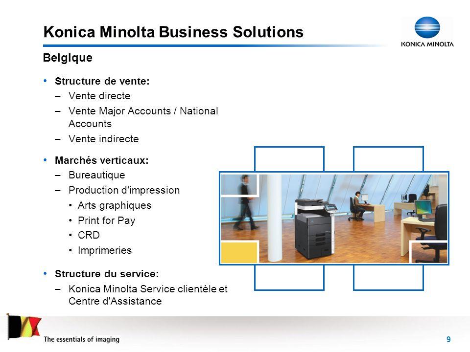 9 Konica Minolta Business Solutions Structure de vente: –Vente directe –Vente Major Accounts / National Accounts –Vente indirecte Marchés verticaux: –