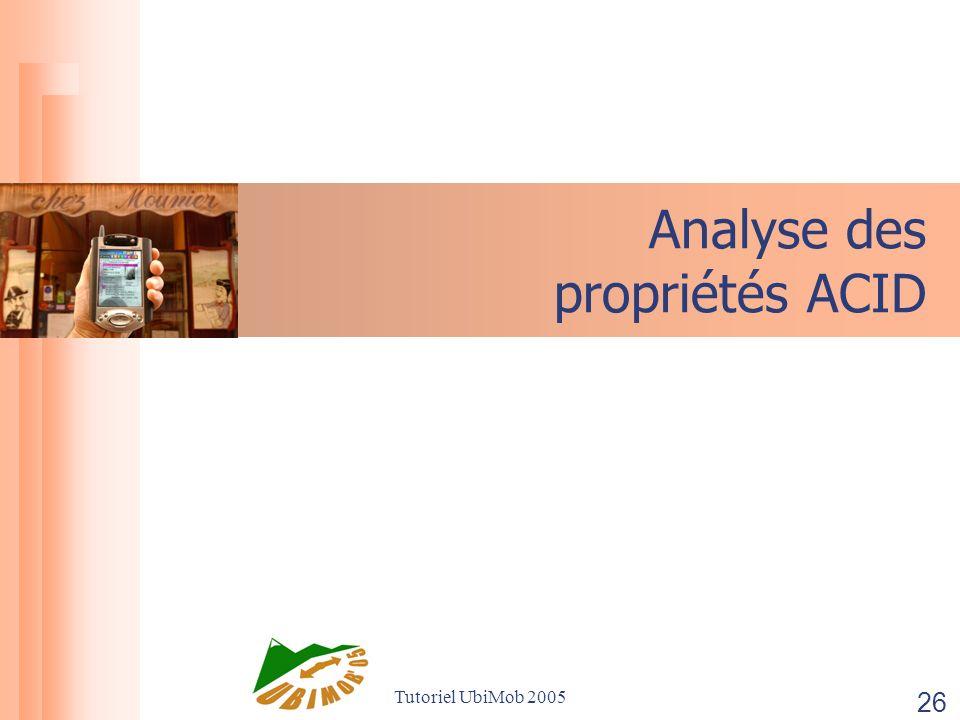 Tutoriel UbiMob 2005 26 Analyse des propriétés ACID