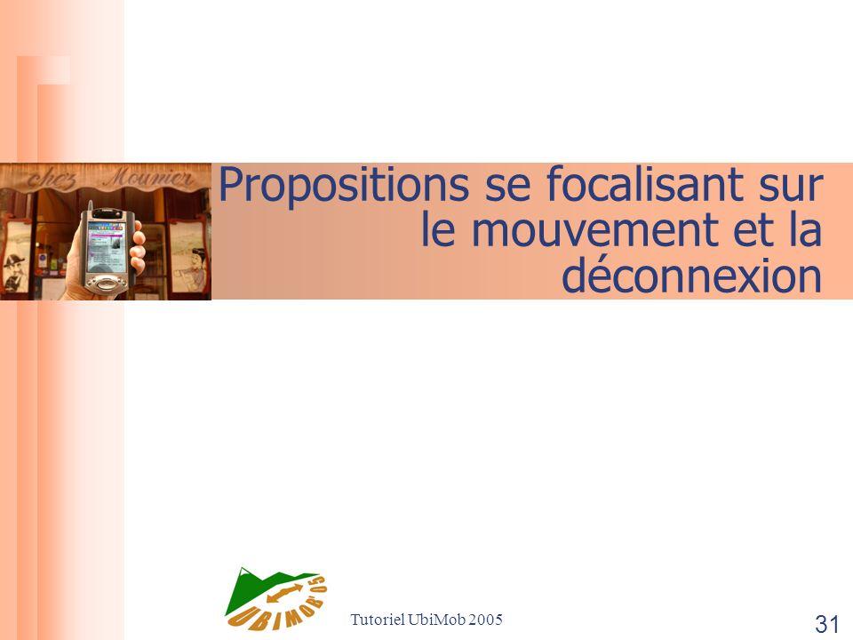 Tutoriel UbiMob 2005 31 Propositions se focalisant sur le mouvement et la déconnexion