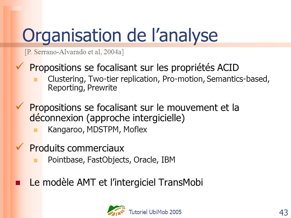Tutoriel UbiMob 2005 43 Organisation de lanalyse Propositions se focalisant sur les propriétés ACID Clustering, Two-tier replication, Pro-motion, Semantics-based, Reporting, Prewrite Propositions se focalisant sur le mouvement et la déconnexion (approche intergicielle) Kangaroo, MDSTPM, Moflex Produits commerciaux Pointbase, FastObjects, Oracle, IBM Le modèle AMT et lintergiciel TransMobi [P.