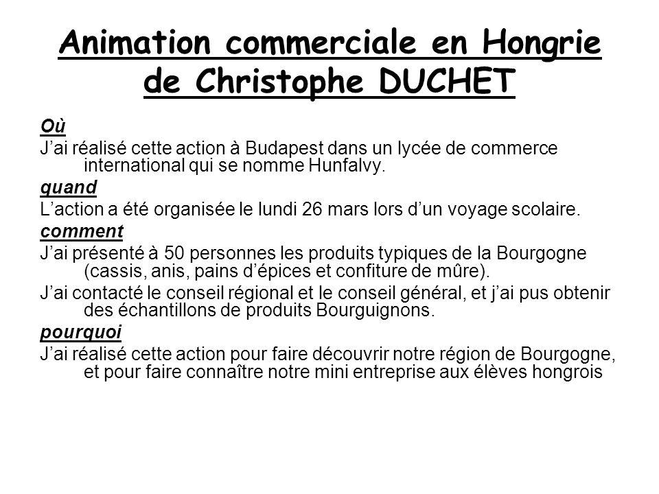 Animation commerciale en Hongrie de Christophe DUCHET Où Jai réalisé cette action à Budapest dans un lycée de commerce international qui se nomme Hunfalvy.