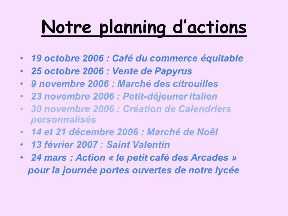 Notre planning dactions 19 octobre 2006 : Café du commerce équitable 25 octobre 2006 : Vente de Papyrus 9 novembre 2006 : Marché des citrouilles 23 no