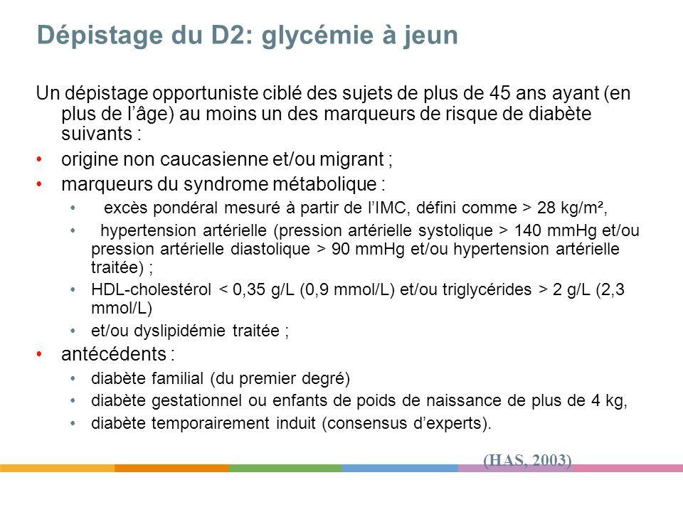 Dépistage du D2: glycémie à jeun Un dépistage opportuniste ciblé des sujets de plus de 45 ans ayant (en plus de lâge) au moins un des marqueurs de ris