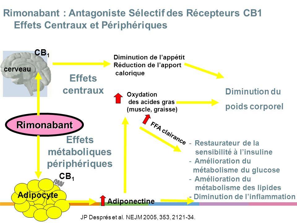 Rimonabant CB 1 Adipocyte cerveau CB 1 - -Restaurateur de la sensibilité à linsuline - -Amélioration du métabolisme du glucose - -Amélioration du méta
