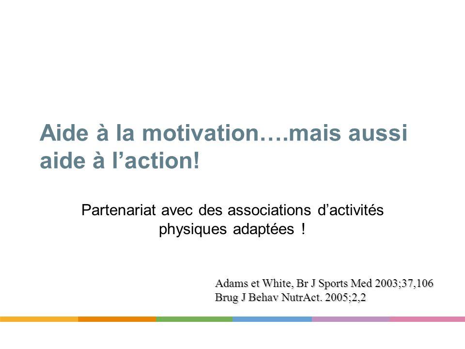 Aide à la motivation….mais aussi aide à laction! Partenariat avec des associations dactivités physiques adaptées ! Adams et White, Br J Sports Med 200