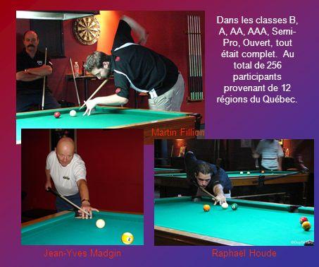 Dans les classes B, A, AA, AAA, Semi- Pro, Ouvert, tout était complet. Au total de 256 participants provenant de 12 régions du Québec. Martin Fillion