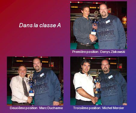 Dans la classe A Première position : Denys Zbikowski Deuxième position : Marc DucharmeTroisième position : Michel Mercier