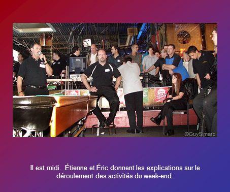 Il est midi. Étienne et Éric donnent les explications sur le déroulement des activités du week-end.