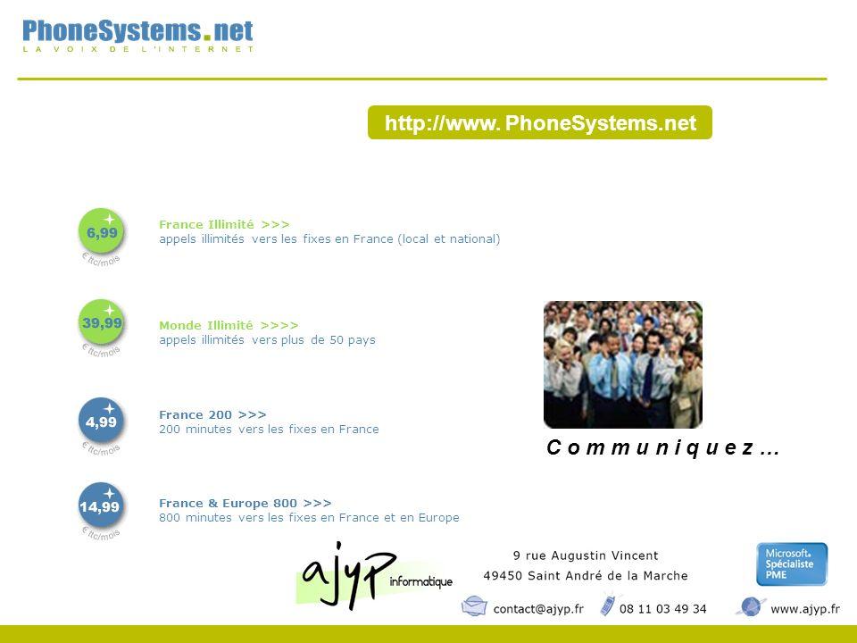http://www. PhoneSystems.net France Illimité >>> appels illimités vers les fixes en France (local et national) Monde Illimité >>>> appels illimités ve