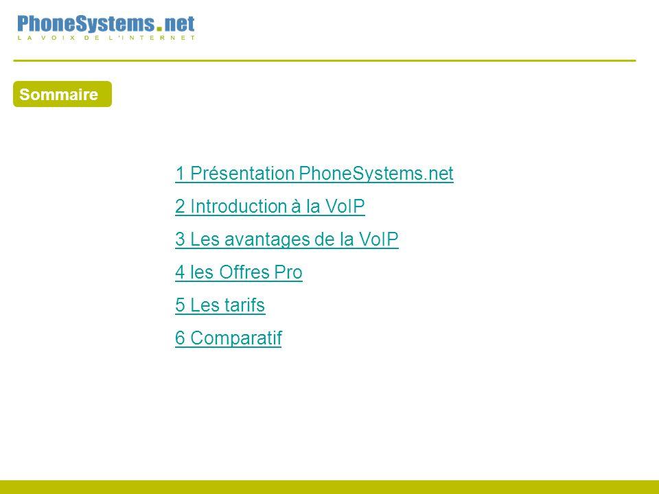 Sommaire 1 Présentation PhoneSystems.net 2 Introduction à la VoIP 3 Les avantages de la VoIP 4 les Offres Pro 5 Les tarifs 6 Comparatif