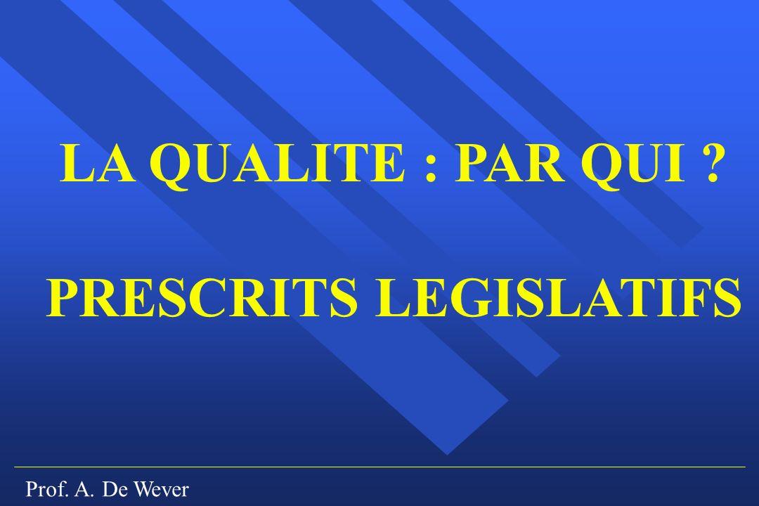 Prof. A. De Wever LA QUALITE : PAR QUI ? PRESCRITS LEGISLATIFS