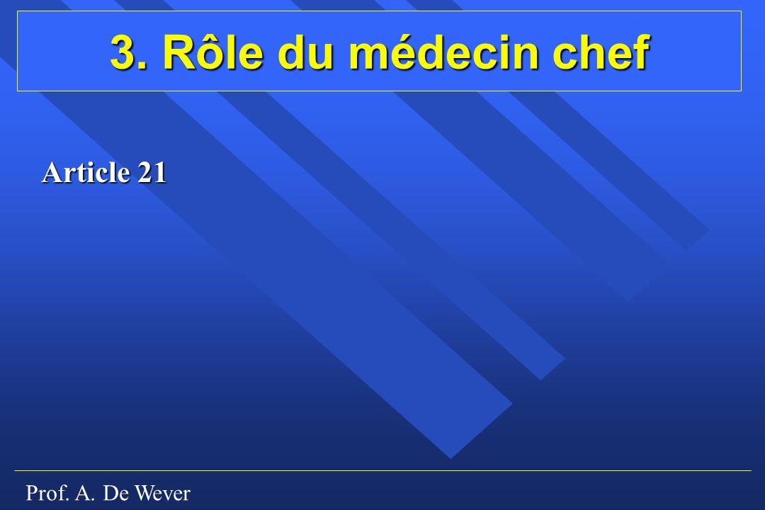 Prof. A. De Wever 3. Rôle du médecin chef Article 21