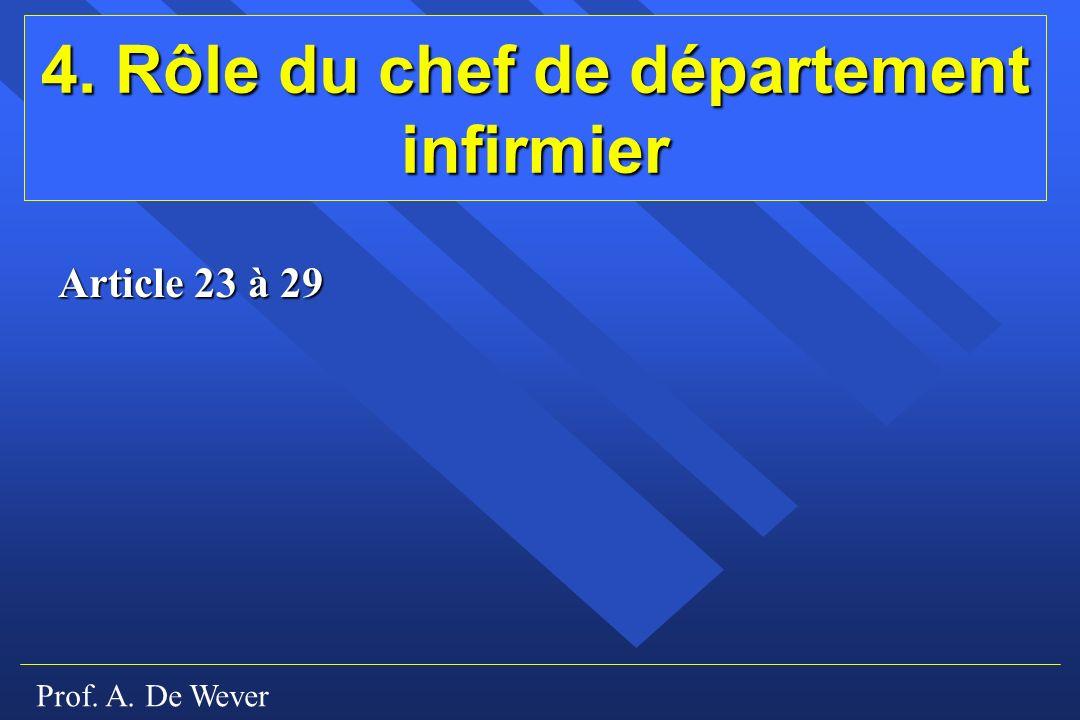 Prof. A. De Wever 4. Rôle du chef de département infirmier Article 23 à 29