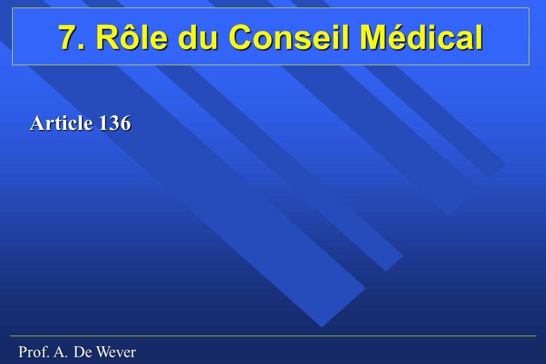 Prof. A. De Wever 7. Rôle du Conseil Médical Article 136