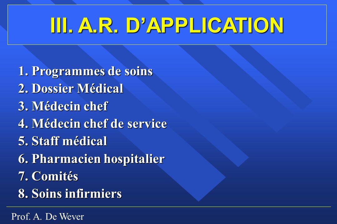 Prof.A. De Wever III. A.R. DAPPLICATION 1. Programmes de soins 2.