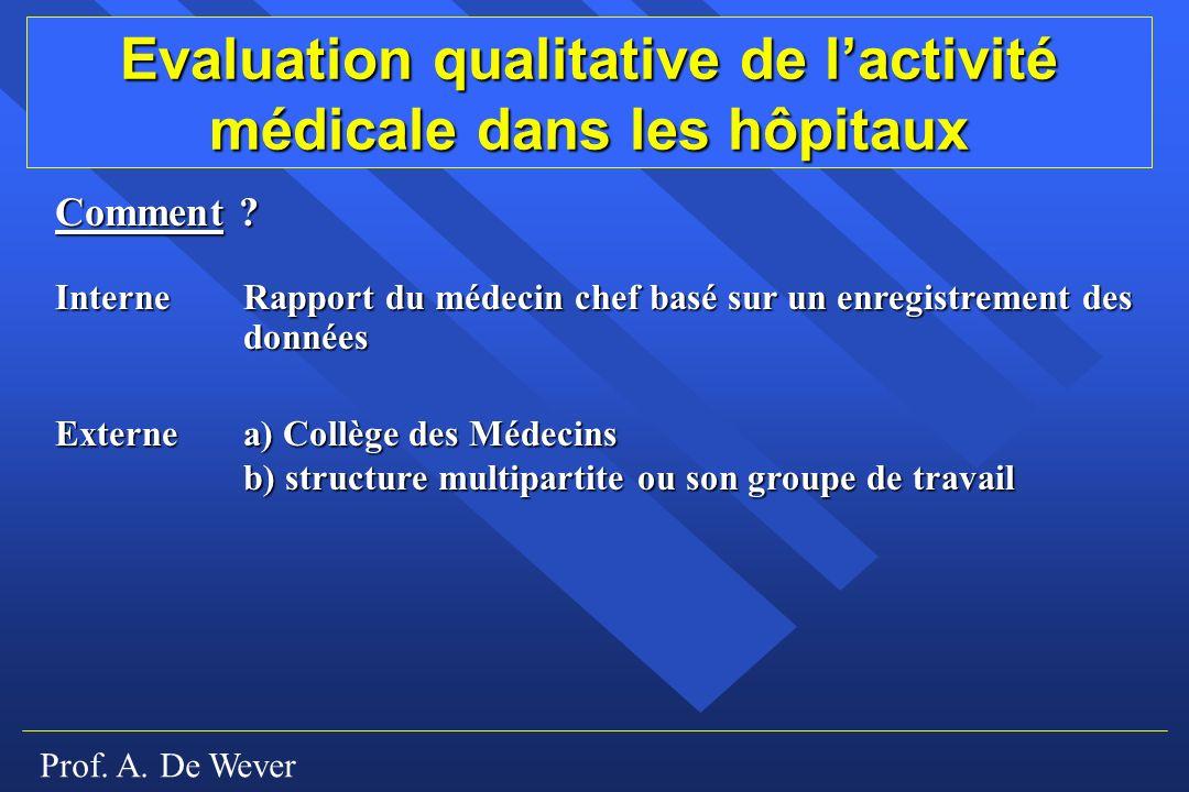 Prof.A. De Wever Evaluation qualitative de lactivité médicale dans les hôpitaux Comment .