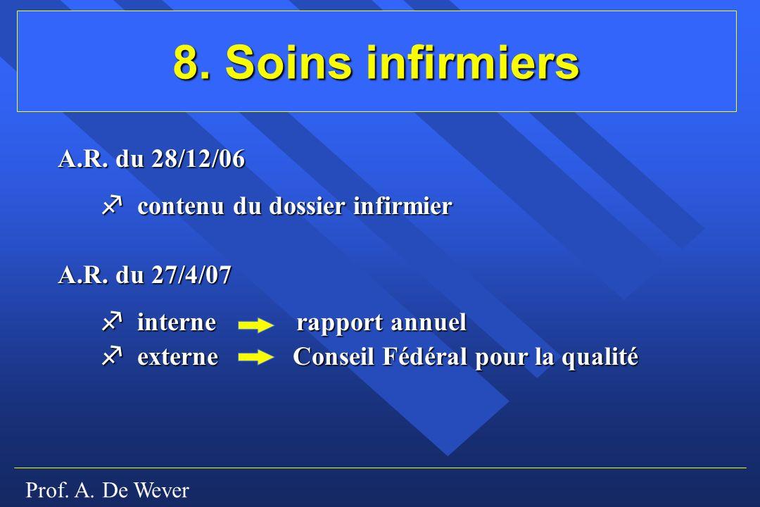 Prof.A. De Wever 8. Soins infirmiers A.R.
