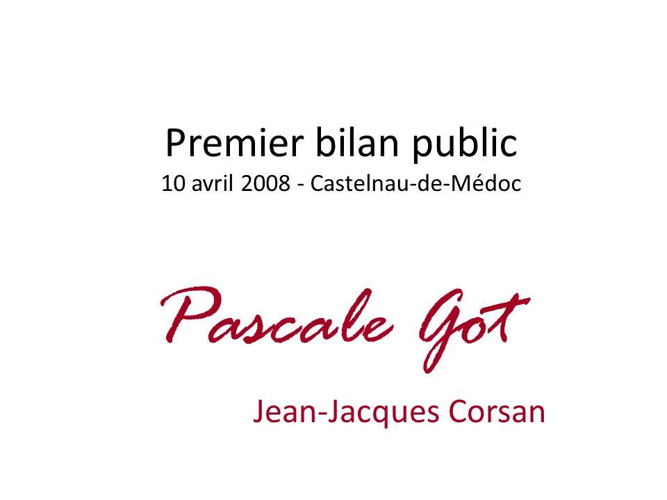 Premier bilan public 10 avril 2008 - Castelnau-de-Médoc Pascale Got Jean-Jacques Corsan