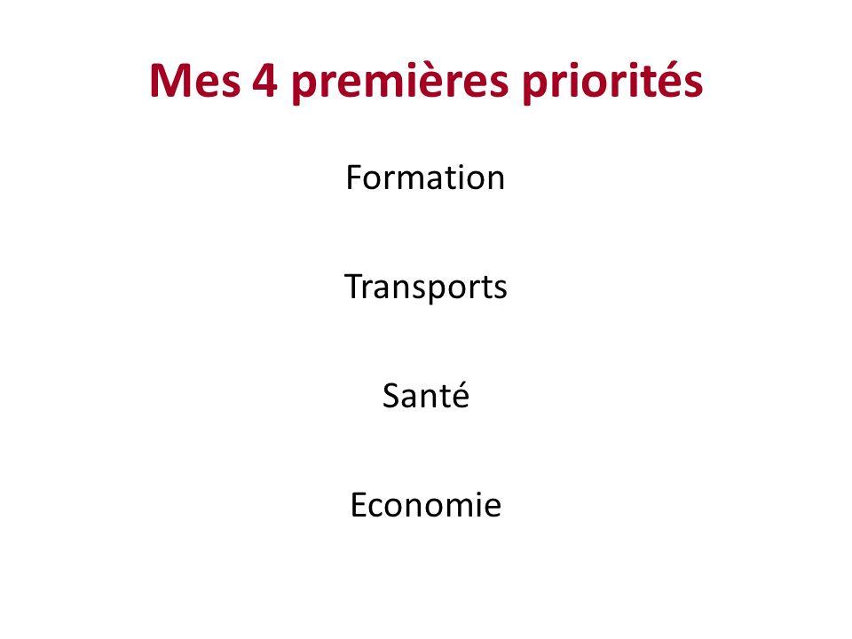Mes 4 premières priorités Formation Transports Santé Economie
