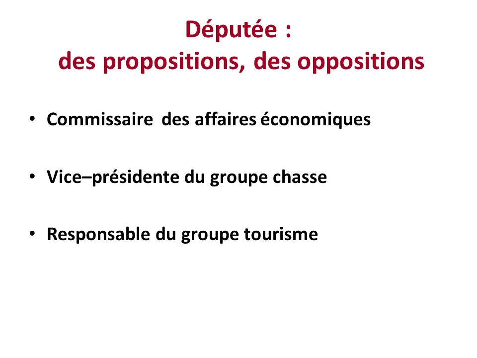 Députée : des propositions, des oppositions Commissaire des affaires économiques Vice–présidente du groupe chasse Responsable du groupe tourisme