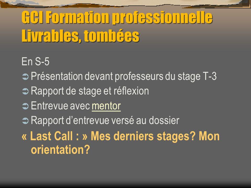 GCI Formation professionnelle Livrables, tombées En S-5 Présentation devant professeurs du stage T-3 Rapport de stage et réflexion Entrevue avec mento