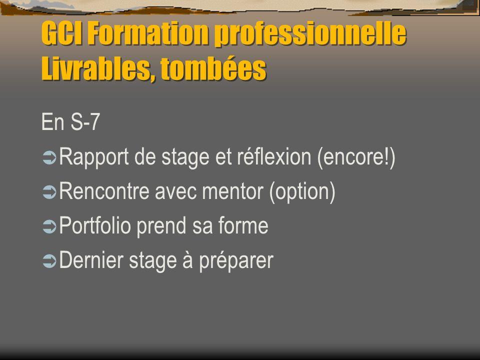 GCI Formation professionnelle Livrables, tombées En S-7 Rapport de stage et réflexion (encore!) Rencontre avec mentor (option) Portfolio prend sa forme Dernier stage à préparer