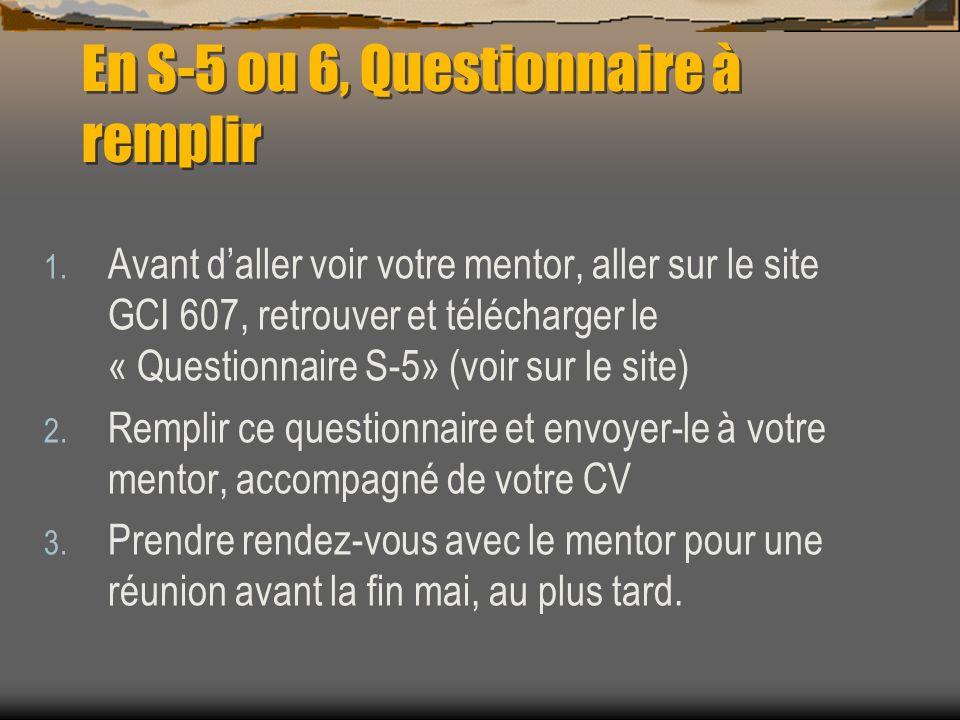 En S-5 ou 6, Questionnaire à remplir 1. Avant daller voir votre mentor, aller sur le site GCI 607, retrouver et télécharger le « Questionnaire S-5» (v