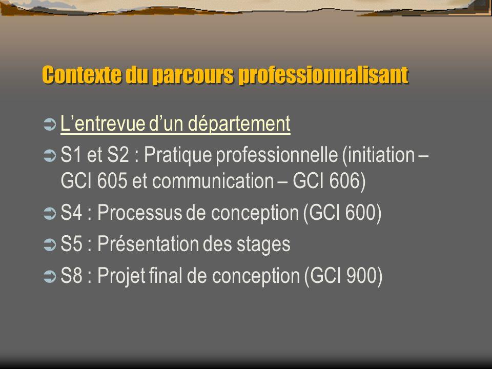 Contexte du parcours professionnalisant Lentrevue dun département S1 et S2 : Pratique professionnelle (initiation – GCI 605 et communication – GCI 606) S4 : Processus de conception (GCI 600) S5 : Présentation des stages S8 : Projet final de conception (GCI 900)