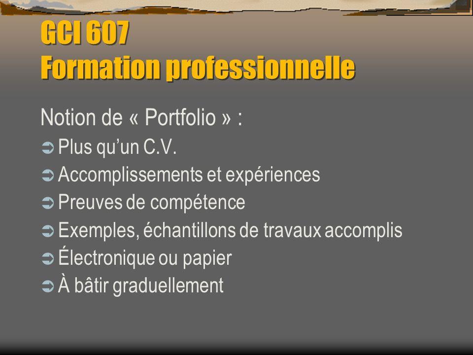 GCI 607 Formation professionnelle Notion de « Portfolio » : Plus quun C.V. Accomplissements et expériences Preuves de compétence Exemples, échantillon