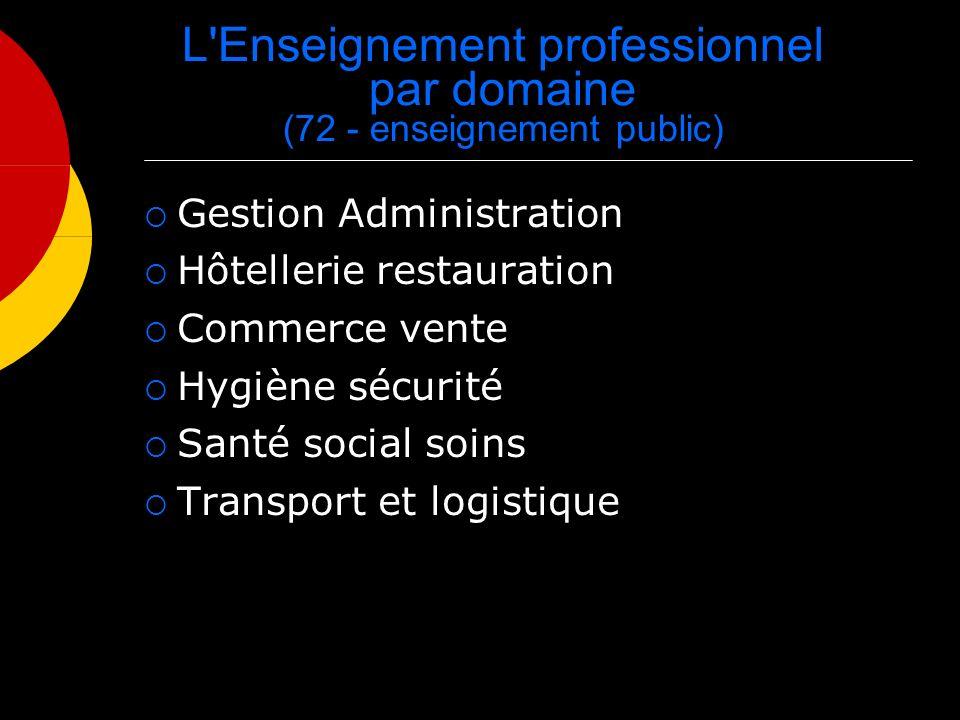 L Enseignement professionnel par domaine (72 - enseignement public) Gestion Administration Hôtellerie restauration Commerce vente Hygiène sécurité Santé social soins Transport et logistique