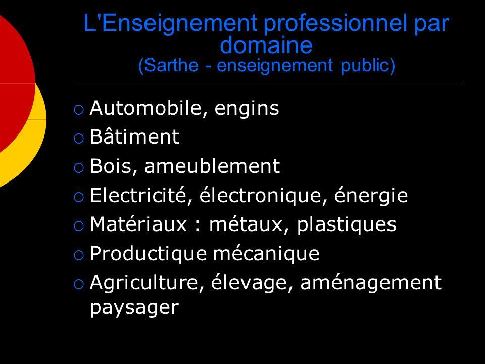 L'Enseignement professionnel par domaine (Sarthe - enseignement public) Automobile, engins Bâtiment Bois, ameublement Electricité, électronique, énerg