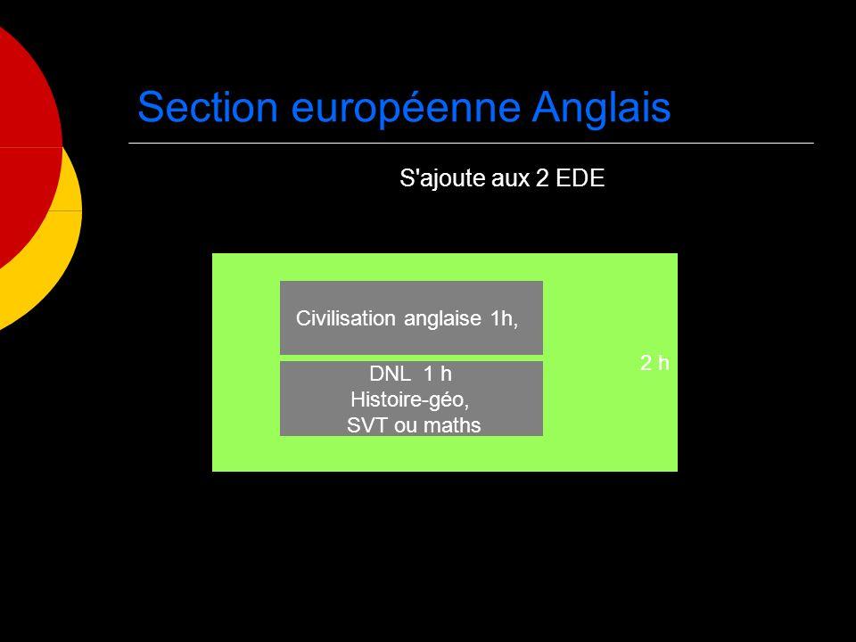 2 h Section européenne Anglais Civilisation anglaise 1h, DNL 1 h Histoire-géo, SVT ou maths S ajoute aux 2 EDE