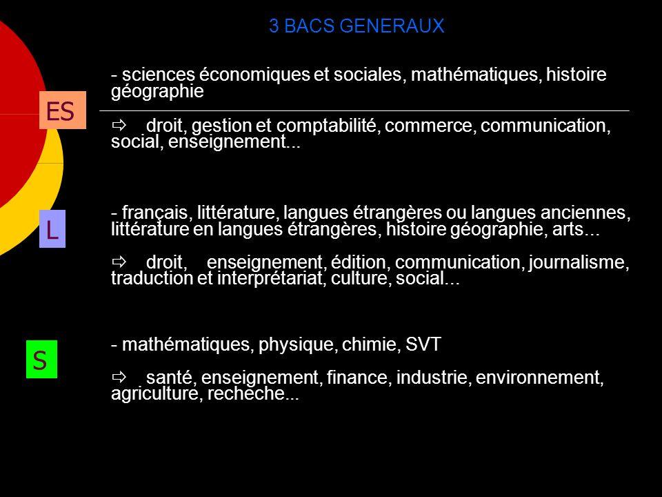 3 BACS GENERAUX S ES L - sciences économiques et sociales, mathématiques, histoire géographie droit, gestion et comptabilité, commerce, communication, social, enseignement...