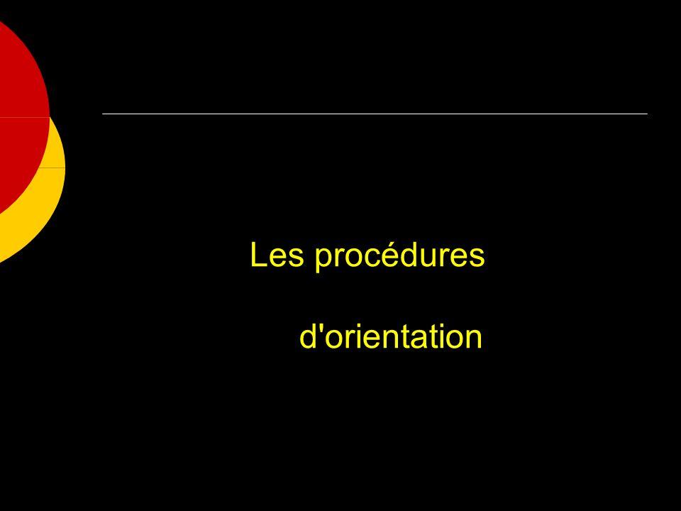 Les procédures d orientation