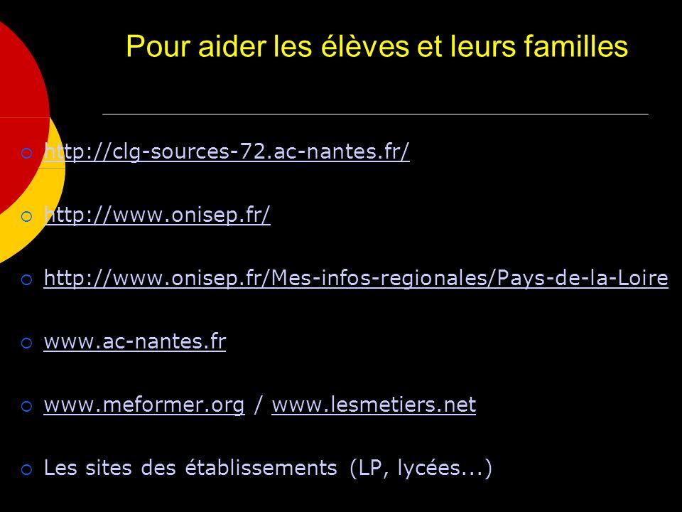 Pour aider les élèves et leurs familles http://clg-sources-72.ac-nantes.fr/ http://www.onisep.fr/ http://www.onisep.fr/Mes-infos-regionales/Pays-de-la