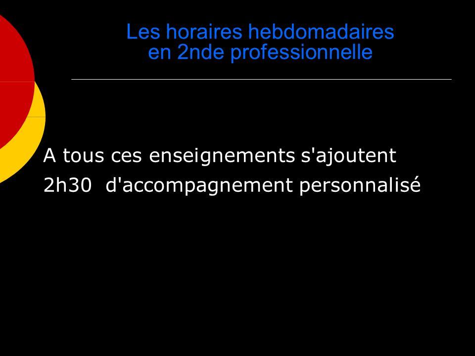 Les horaires hebdomadaires en 2nde professionnelle A tous ces enseignements s'ajoutent 2h30 d'accompagnement personnalisé
