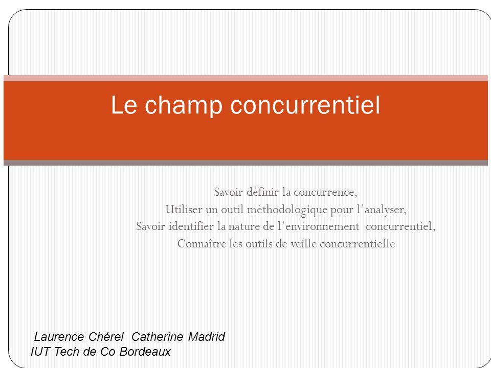 Les avantages stratégiques tenant à l existence de concurrents Développement du marché Effet dissuasif sur l entrée de nouvelles firmes Accroissement de l avantage différentiel en offrant une norme de référence au consommateur, ainsi certains concurrents peuvent renforcer la compétitivité de l entreprise, si celle-ci cherche à se différencier sur dautres points (larrivée de Free a permis à Orange de faire valoir sa différenciation sur la qualité de service) Laurence Chérel Catherine Madrid IUT Tech de Co Bordeaux