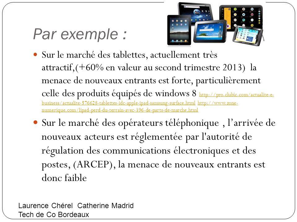 Par exemple : Sur le marché des tablettes, actuellement très attractif,(+60% en valeur au second trimestre 2013) la menace de nouveaux entrants est fo