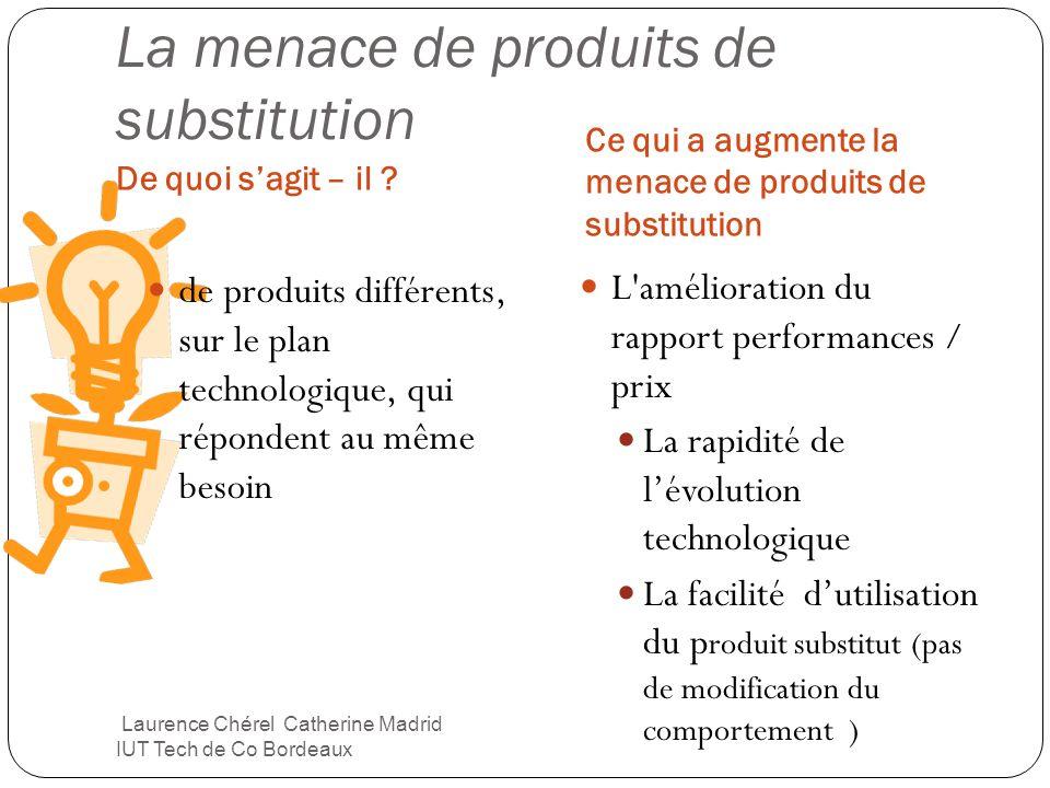 La menace de produits de substitution De quoi sagit – il ? Ce qui a augmente la menace de produits de substitution de produits différents, sur le plan