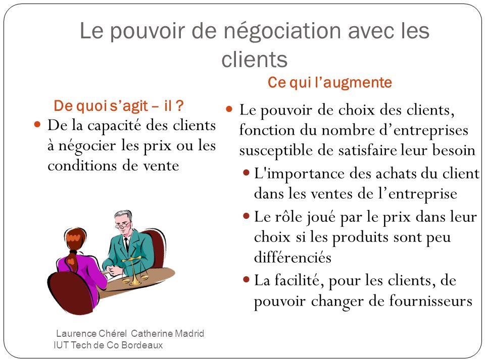 Le pouvoir de négociation avec les clients De quoi sagit – il ? Ce qui laugmente De la capacité des clients à négocier les prix ou les conditions de v