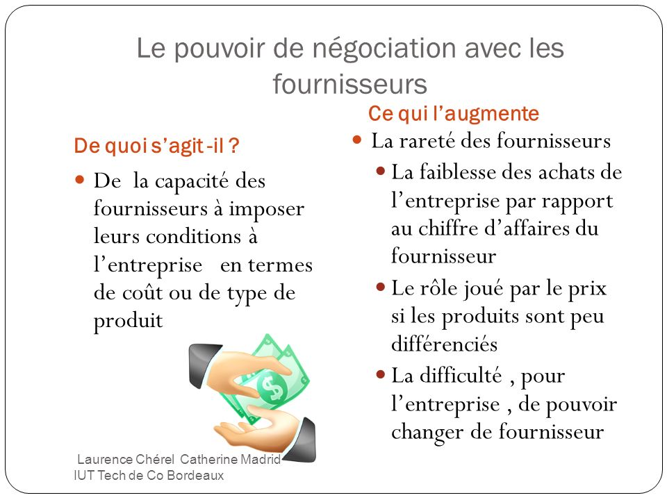 Le pouvoir de négociation avec les fournisseurs De quoi sagit -il ? Ce qui laugmente De la capacité des fournisseurs à imposer leurs conditions à lent