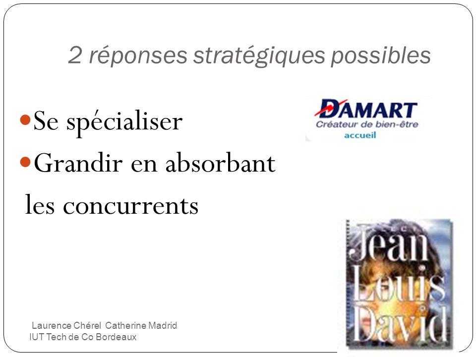 2 réponses stratégiques possibles Se spécialiser Grandir en absorbant les concurrents Laurence Chérel Catherine Madrid IUT Tech de Co Bordeaux