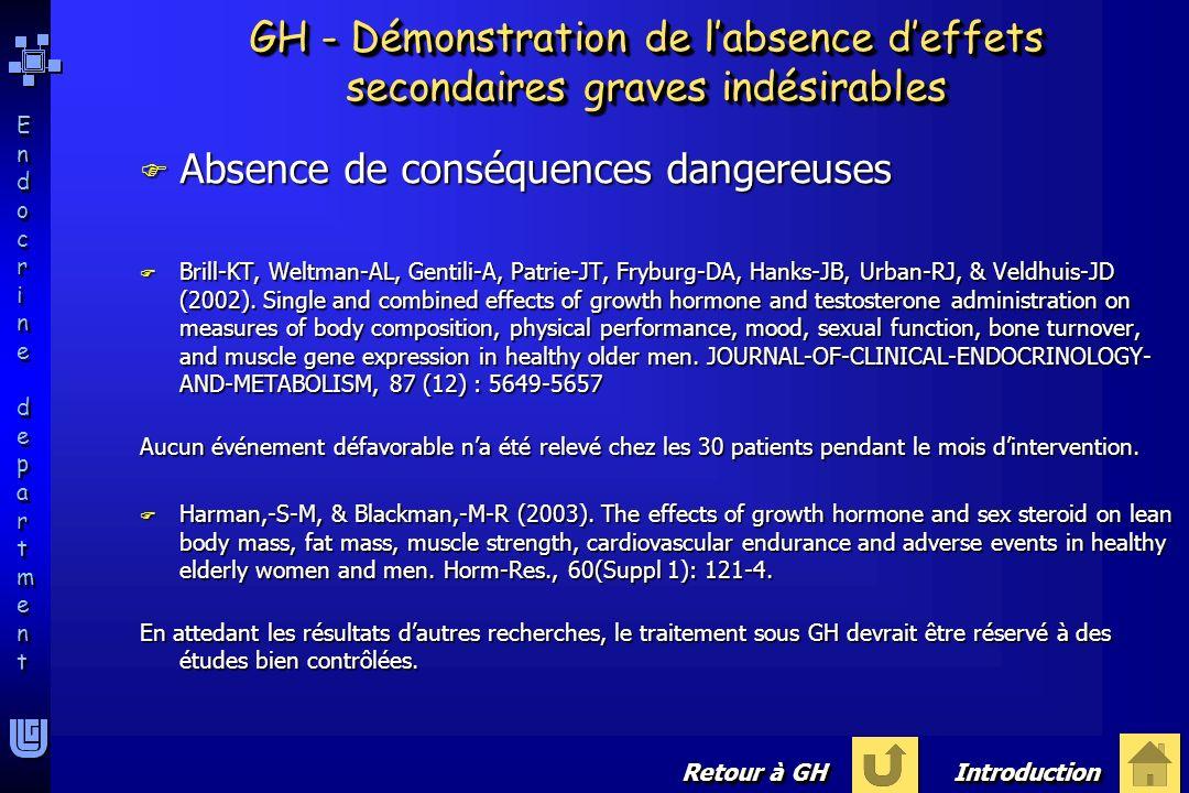 Endocrine departmentEndocrine department Endocrine departmentEndocrine department F Absence de conséquences dangereuses F Brill-KT, Weltman-AL, Gentil